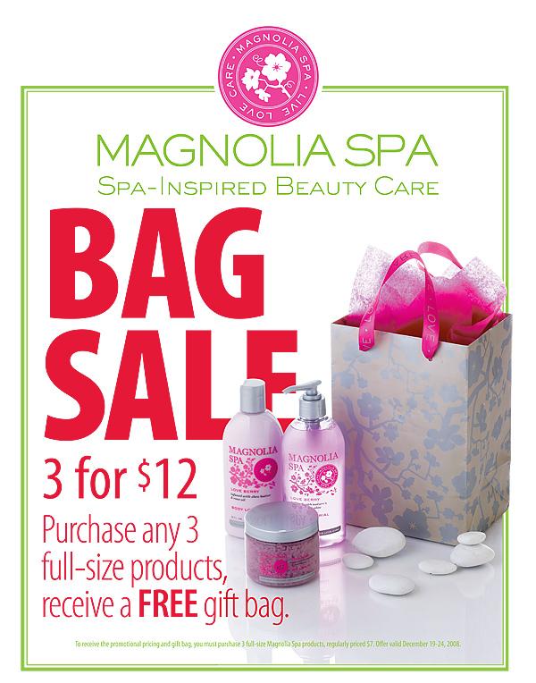 Magnolia Spa Bag Sale Zone Sign